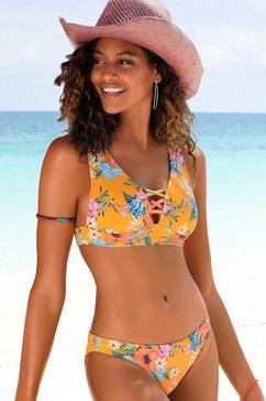bench. triangel-bikinitop maui met siersluiting bij de hals geel