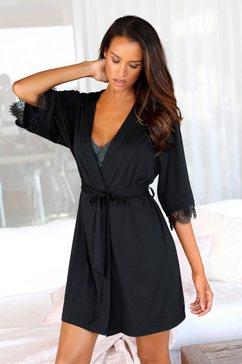 lascana kimono met kant aan de mouwzoom zwart