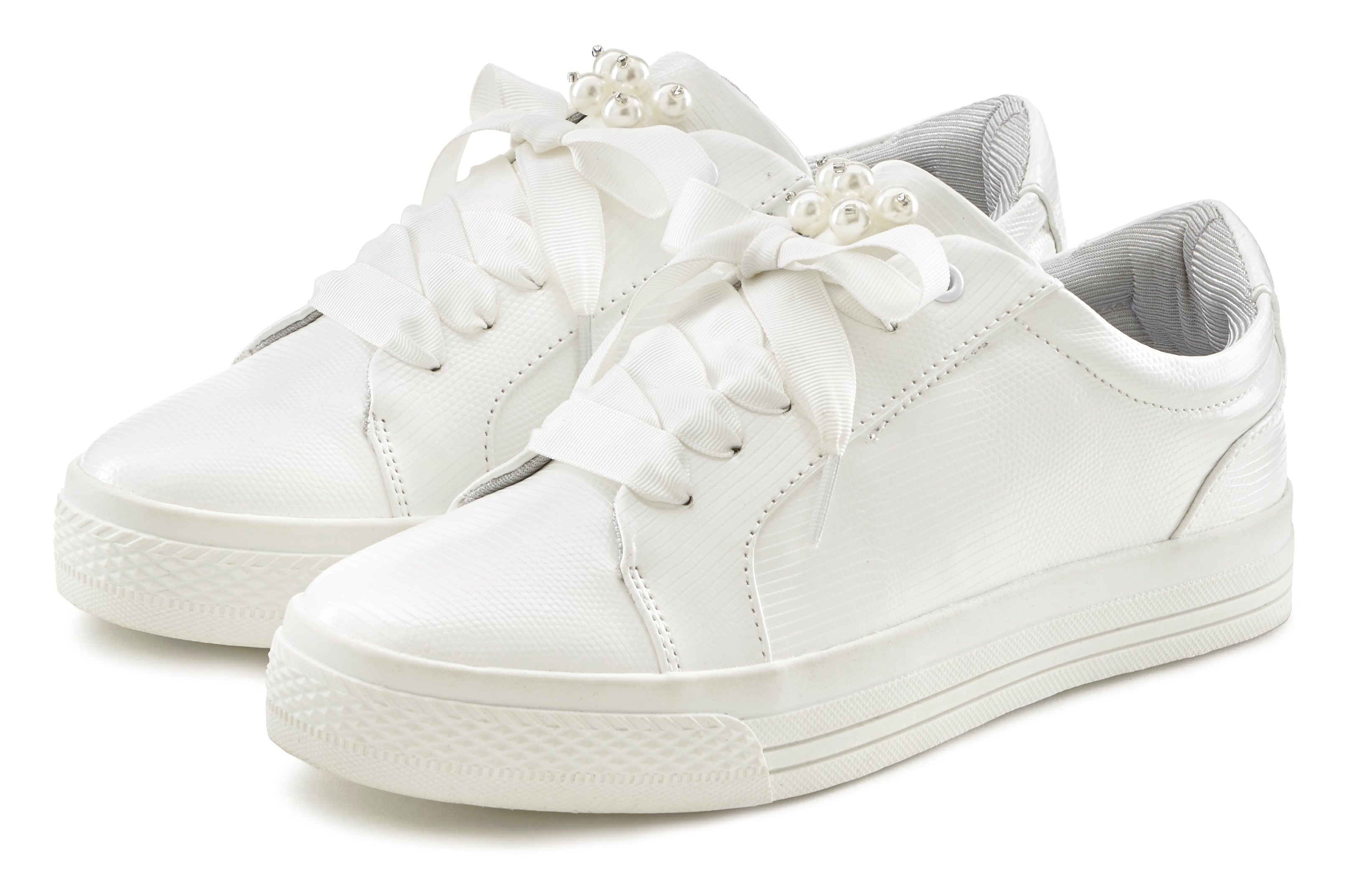 Lascana Sneakers met plateau en kralen in kroko-look veilig op lascana.nl kopen