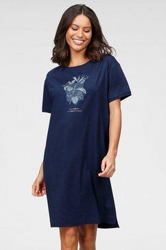 triumph nachthemd met gebloemde frontprint blauw