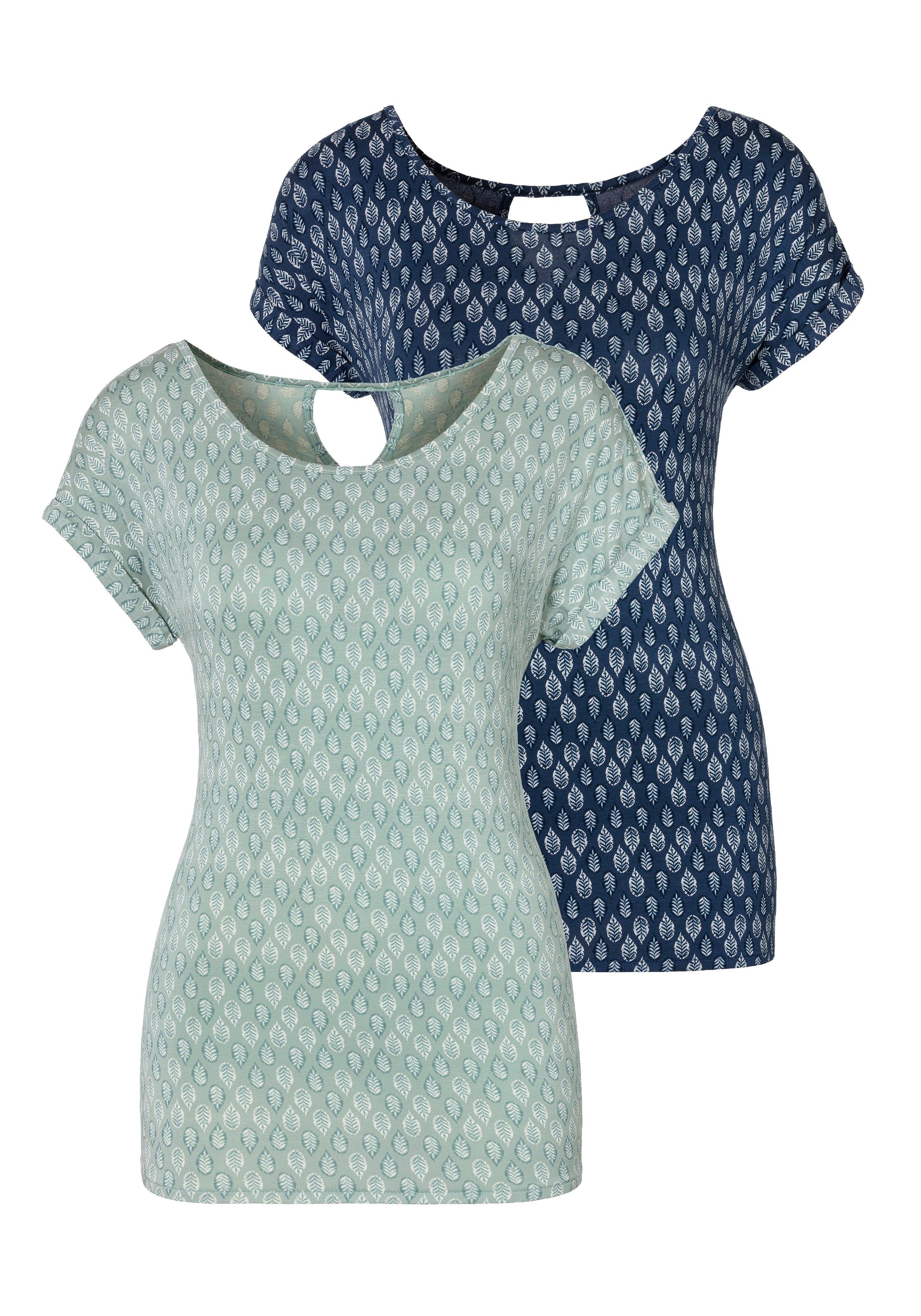 Lascana T-shirt met kleine mouwomslagen (Set van 2) nu online bestellen