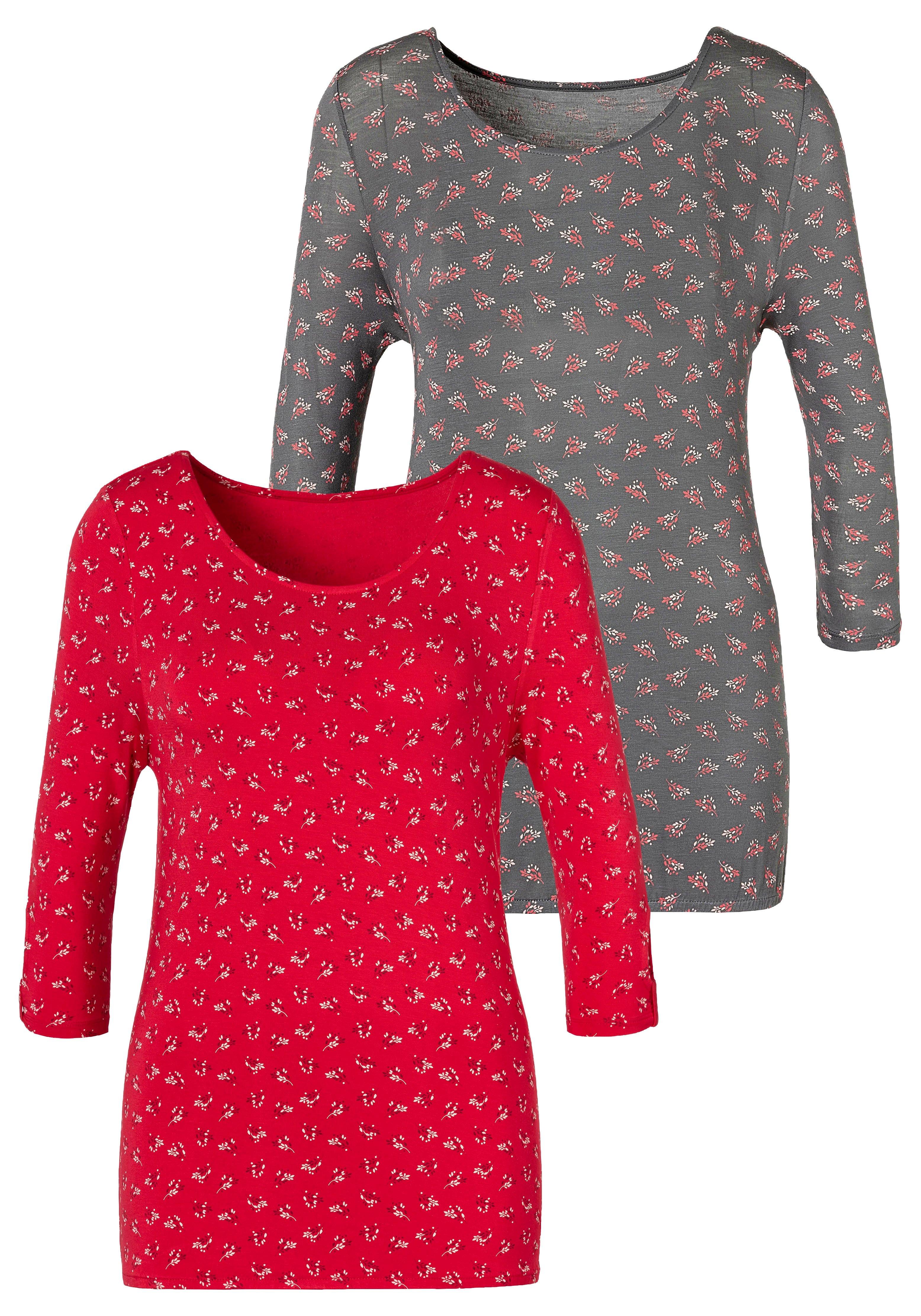 Lascana T-shirt met kleine cut-out op de mouw (Set van 2) nu online bestellen