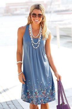 beachtime strandjurk met bloemenprint blauw
