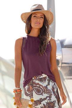lascana strandtop met kanten inzetten paars