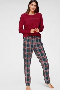 tommy hilfiger pyjama met geruite broek en logo-opschrift op het shirt met lange mouwen rood