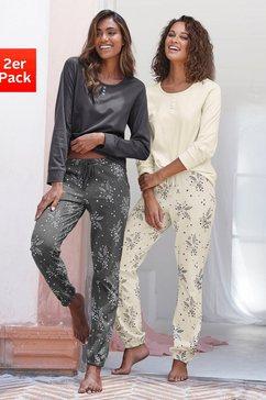 vivance dreams pyjama met fijne bloementakken (set van 2) grijs