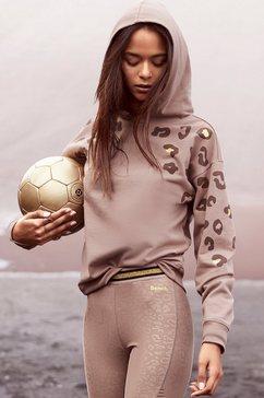 bench. hoodie met glanzende luipaardprint bruin