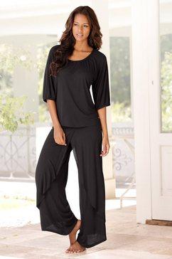 lascana pyjama in chique layer-look zwart