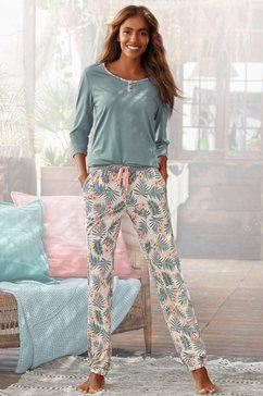 lascana pyjama met gedessineerde broek groen