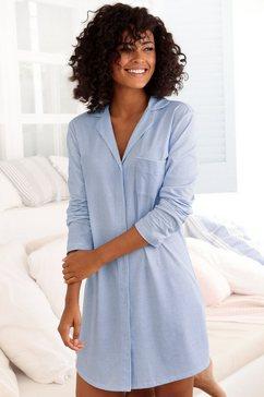 vivance dreams nachthemd met een fijn patroon blauw