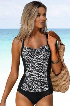 lascana badpak clara met aangerimpelde inzet en modellerend effect zwart
