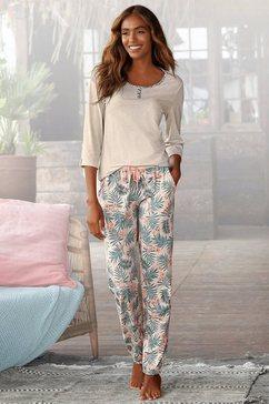 lascana pyjama met gedessineerde broek beige