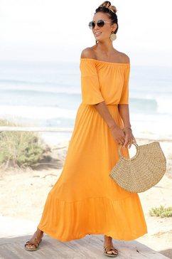 lascana maxi-jurk van zachte viscose-jersey geel