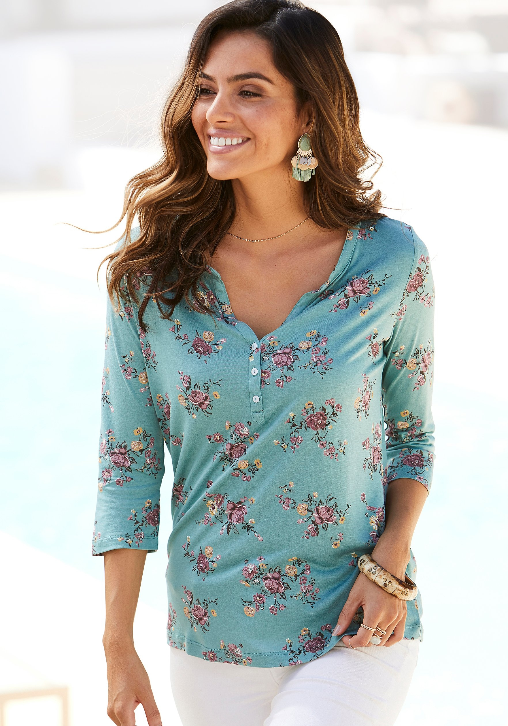 Lascana shirt met 3/4-mouwen in modieuze blouse-look (Set van 2) bestellen: 30 dagen bedenktijd