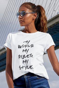 lascana t-shirt met frontprint wit
