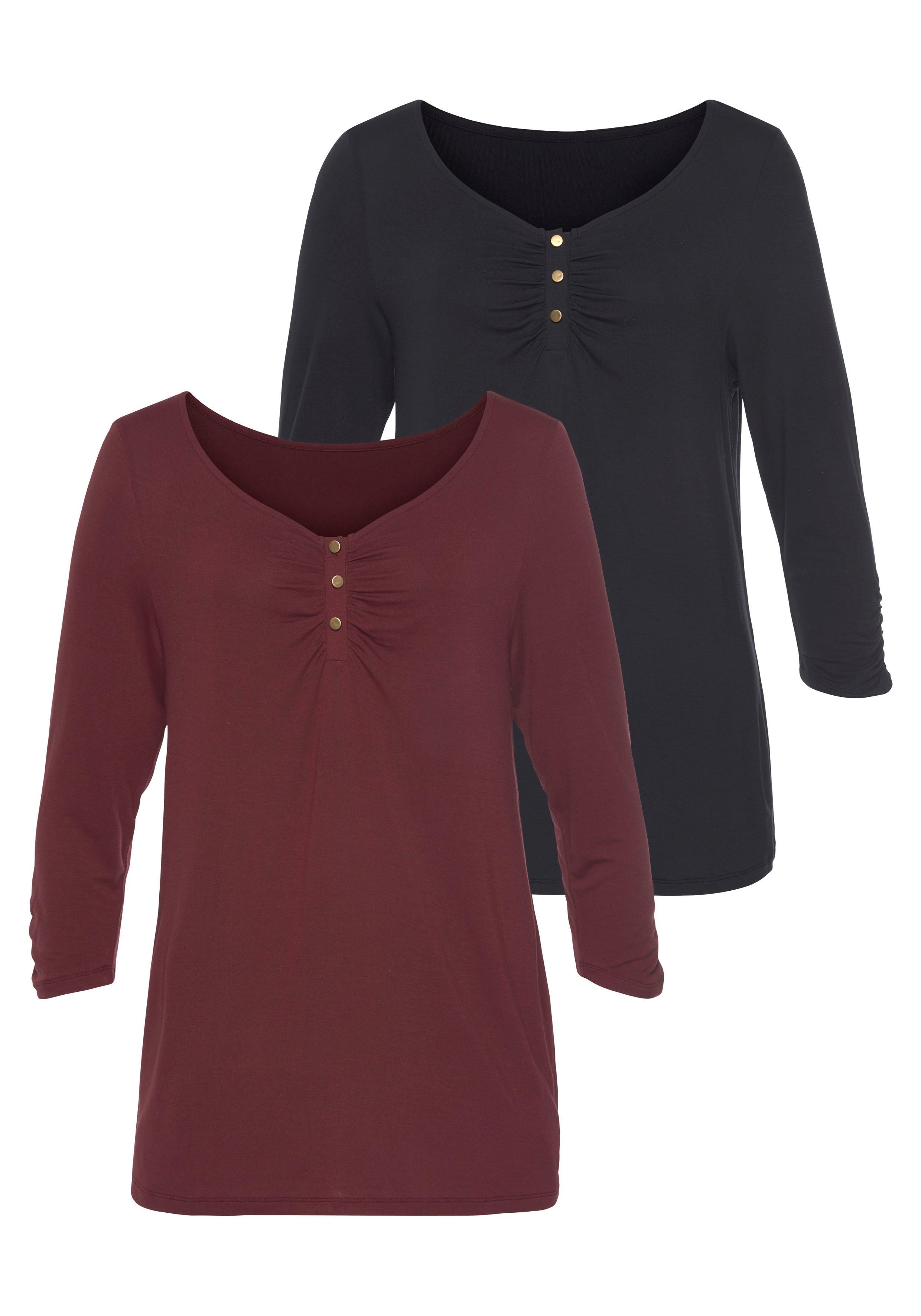 Vivance shirt met 3/4-mouwen met fijne plooi (Set van 2) online kopen op lascana.nl