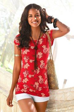lascana lang shirt met brede tailleband rood