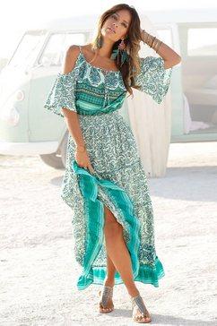 lascana maxi-jurk met randprint bij de zoom groen