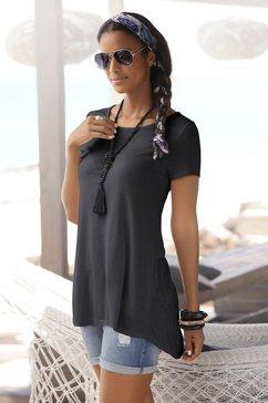 lascana t-shirt met verlengd rugpand zwart