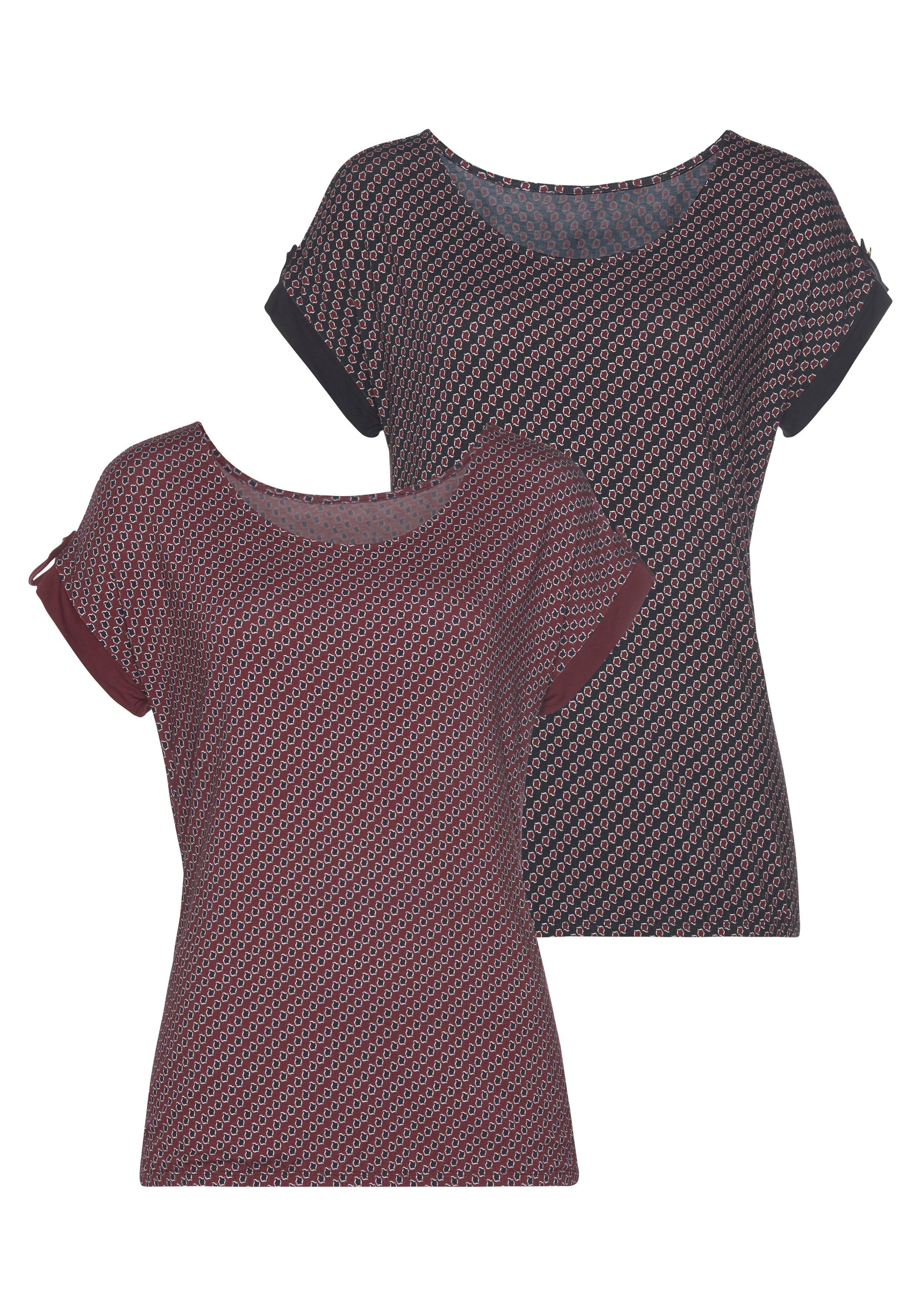 Vivance T-shirt met klein beleg en goudkleurige knoop onder aan de mouwen (Set van 2) nu online bestellen