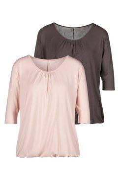 lascana shirt met 3-4-mouwen met fijne plooien bij de hals roze