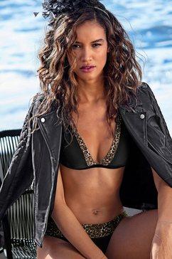 lascana triangel-bikinitop adele met trendy details zwart