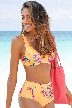 sunseeker highwaist-bikinibroekje modern met een bloemmotief geel