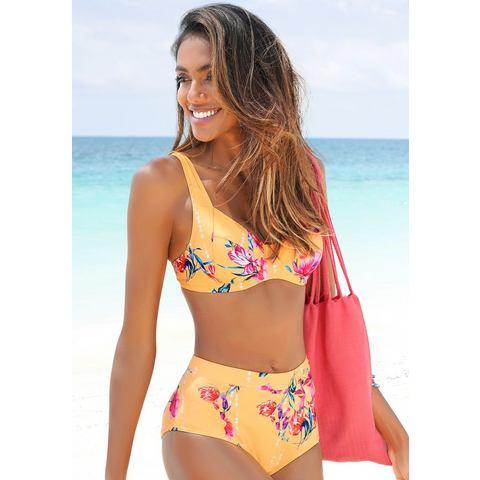 Sunseeker highwaist-bikinibroekje Modern met een bloemmotief