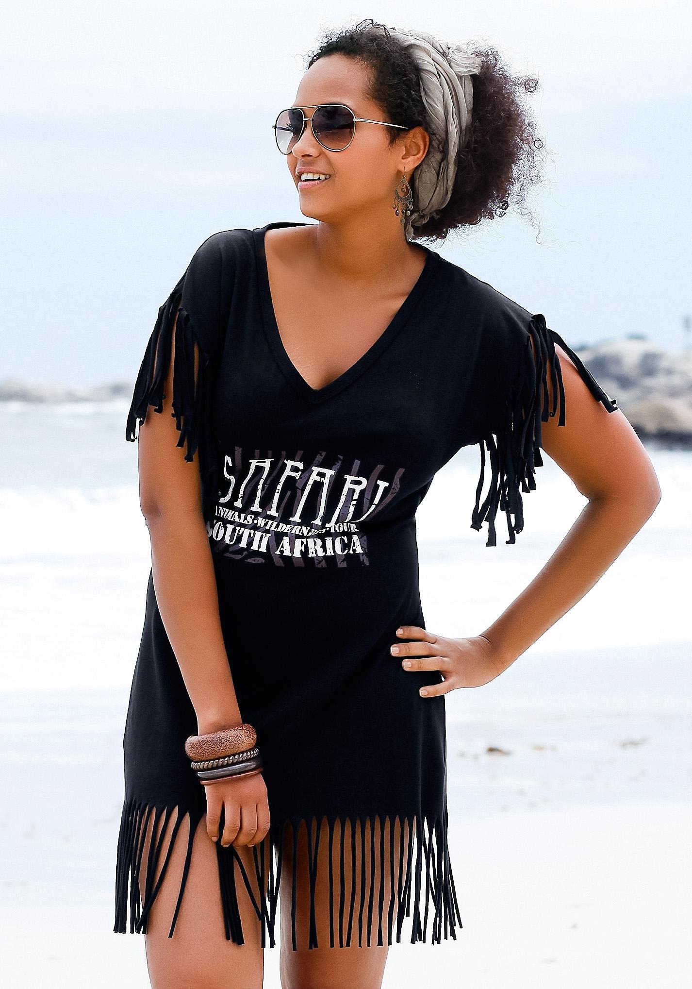 beachtime lang shirt met franje goedkoop op lascana.nl kopen