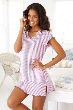 h.i.s nachthemd in leuke streep-look met gekrulde randen roze