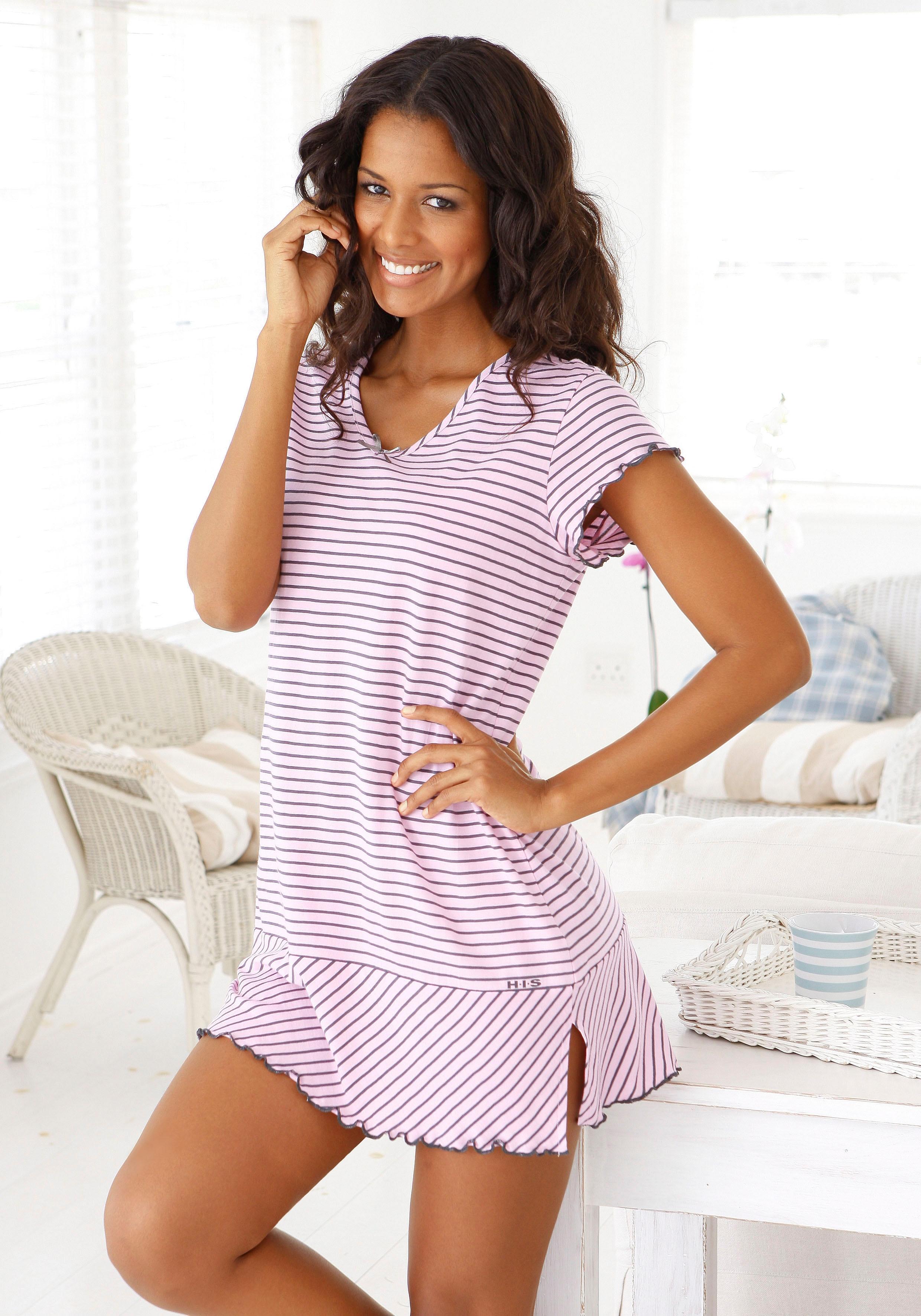 Op zoek naar een H.I.S nachthemd in leuke streep-look met gekrulde randen? Koop online bij Lascana