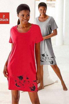 vivance dreams nachthemd met poezenprint (set van 2) rood