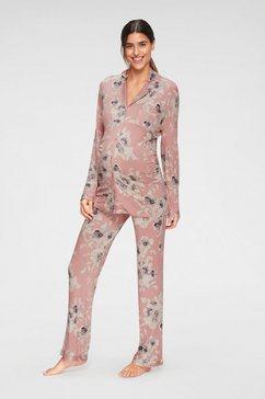 lascana zwangerschapspyjama met knoopsluiting en plooi roze