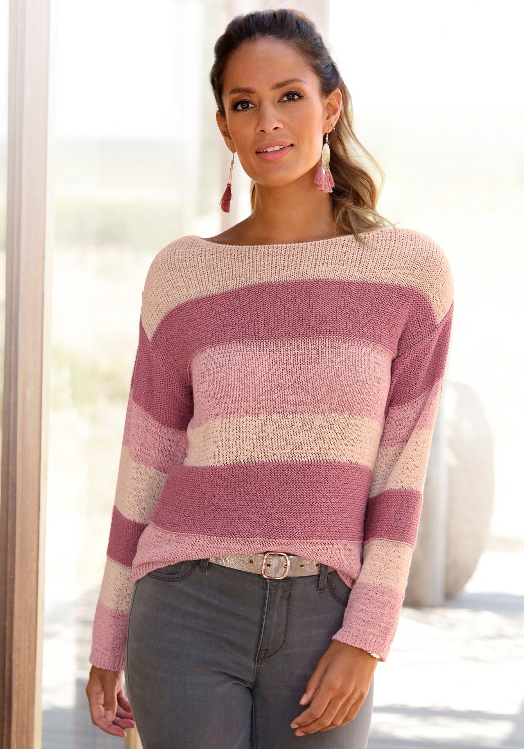 Lascana gestreepte trui gemaakt van lintgaren online kopen op lascana.nl