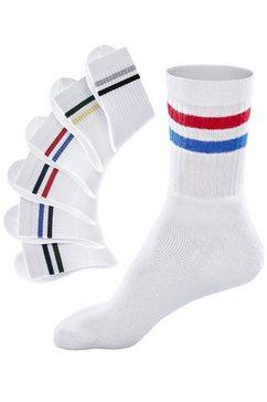 go in vrijetijdssokken met gekleurde strepen (6 paar) wit