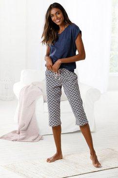 vivance dreams capripyjama met gedessineerde pyjamabroek blauw