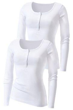 shirt met lange mouwen, h.i.s, set van 2 wit