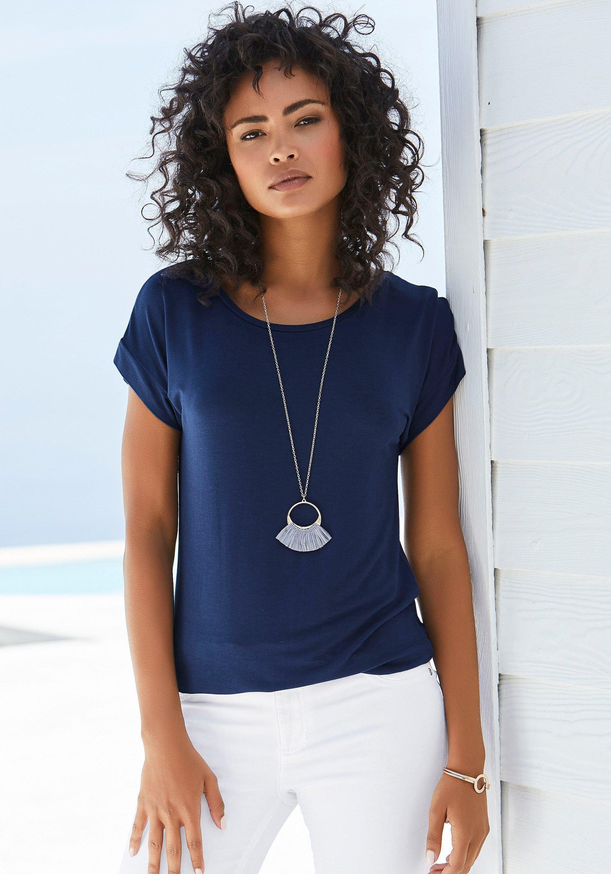 Vivance T-shirt met elastische zoomrand in de webshop van Lascana kopen
