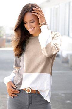 lascana trui met ronde hals met colourblocking-stijl beige