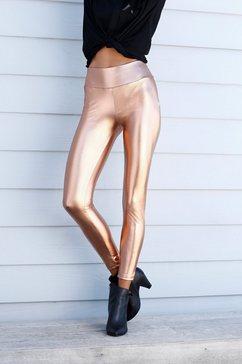 lascana legging met glanzende coating goud
