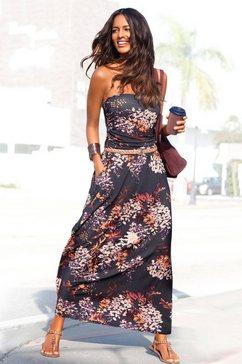 lascana maxi-jurk met bloemenprint zwart