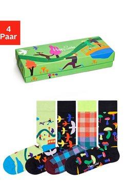happy socks sokken into the park in aantrekkelijke verpakking (set, 4 paar) multicolor