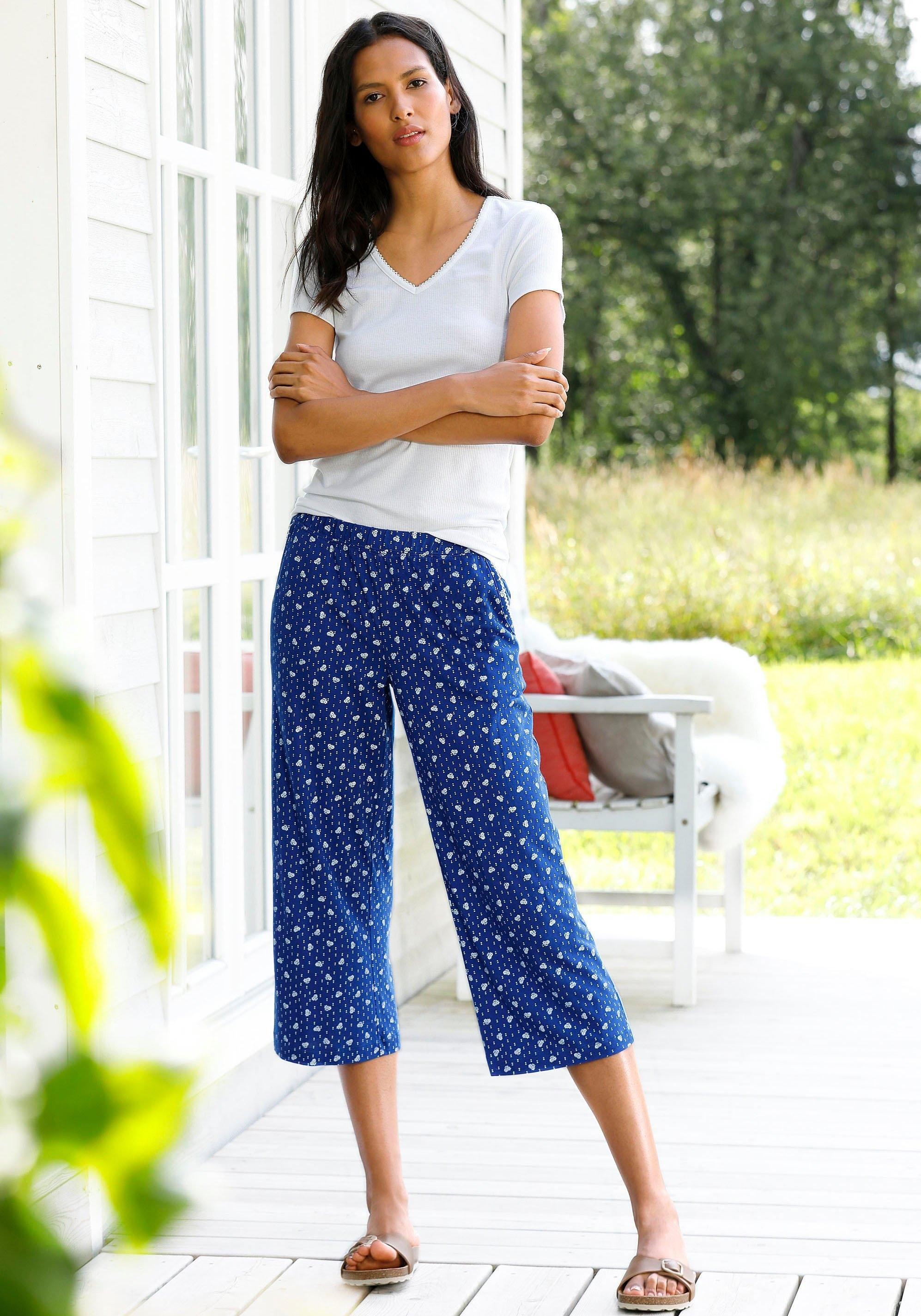 s.Oliver RED LABEL Beachwear capripyjama met gebloemde broek nu online bestellen