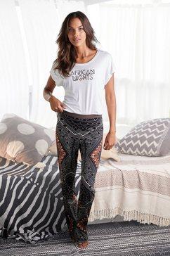 lascana pyjama in etno-design bruin