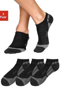 fila sneakersokken met ingebreid opschrift (3 paar) zwart