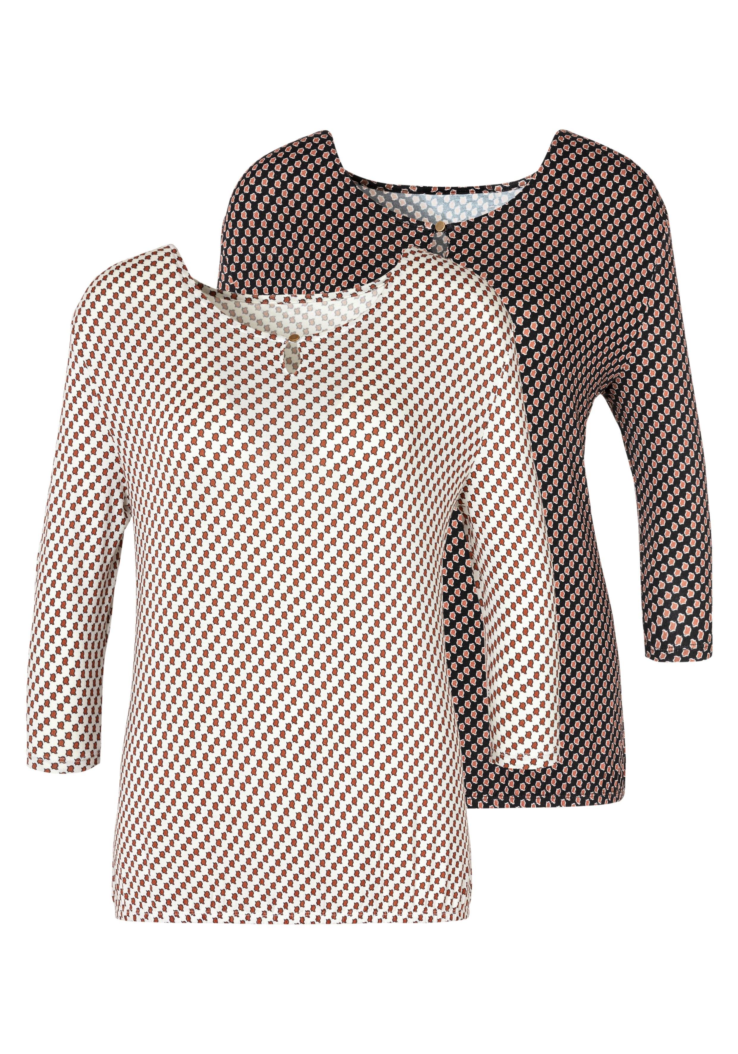 Vivance shirt met 3/4-mouwen met kleine opening en goudkleurige sierknoop bij de hals (Set van 2) in de webshop van Lascana kopen