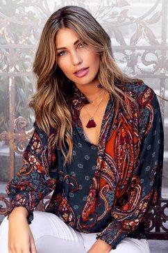 lascana gedessineerde blouse met paisleyprint blauw