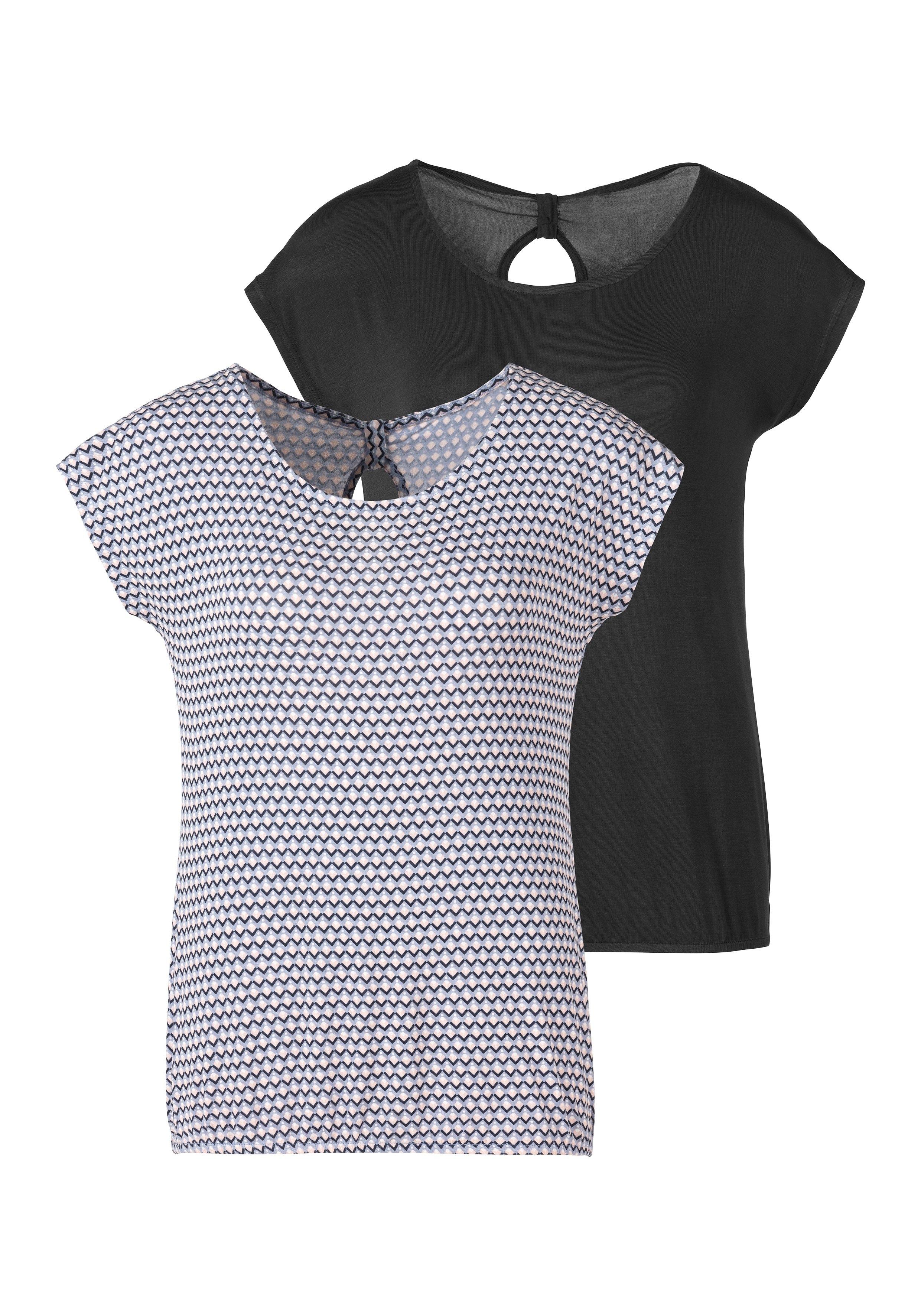 Vivance T-shirt met een cut-out en fijne plooi in de nek (Set van 2) goedkoop op lascana.nl kopen