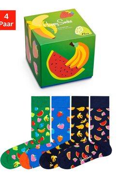 happy socks sokken fruit met vruchten in cadeauverpakking (box, 4 paar) multicolor