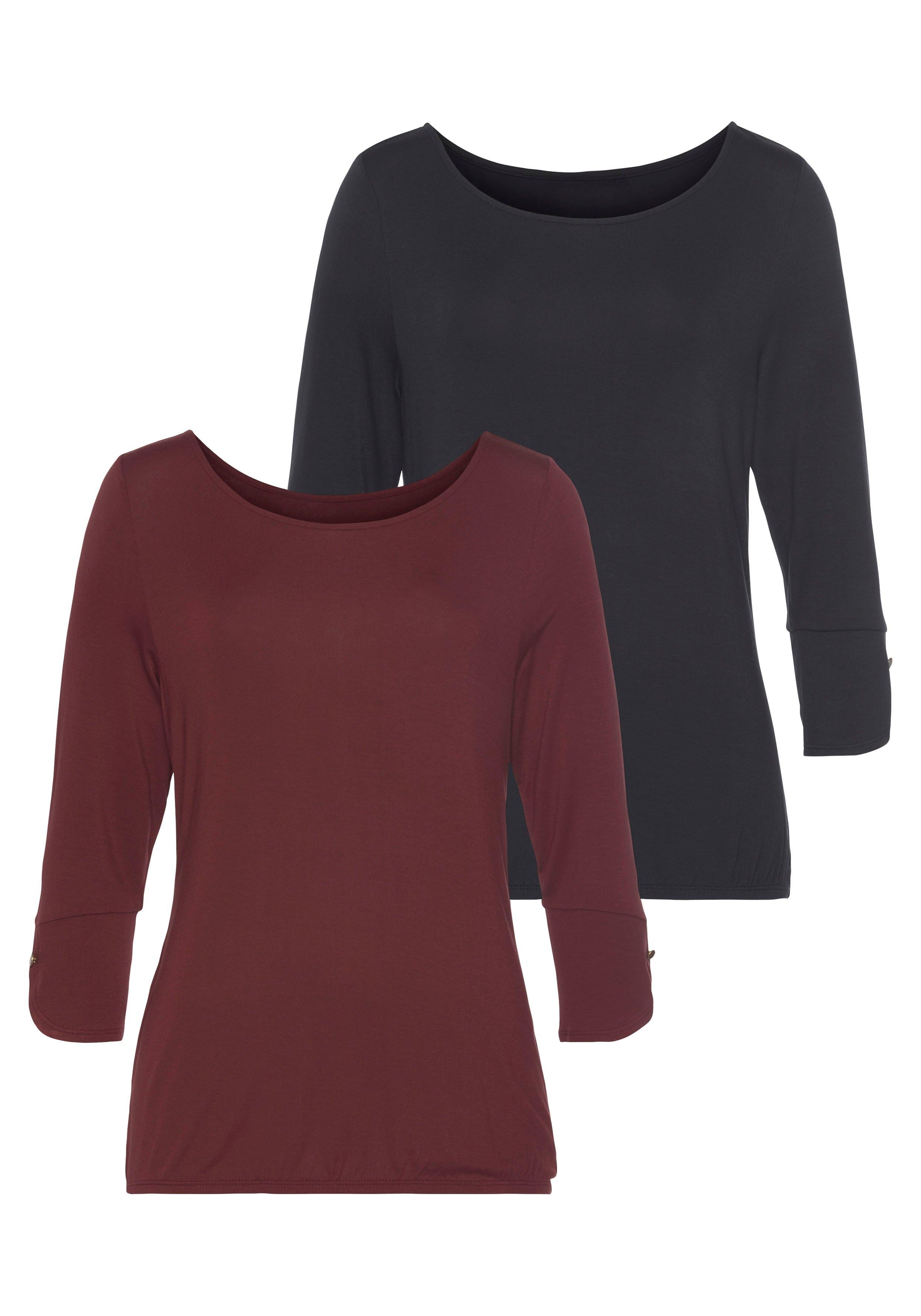 Vivance shirt met 3/4-mouwen met modieuze manchetten en goudkleurige knopen (Set van 2) - gratis ruilen op lascana.nl
